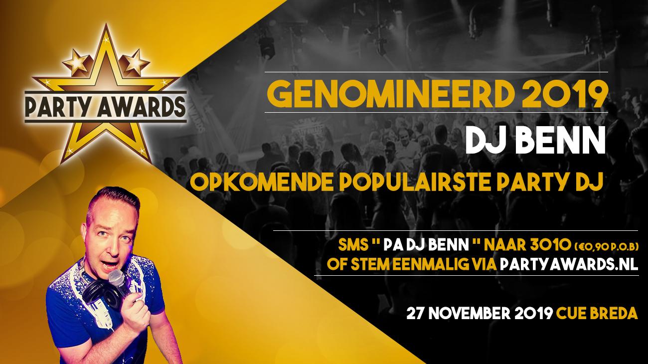 DJ Benn genomineerd voor Party Award 2019